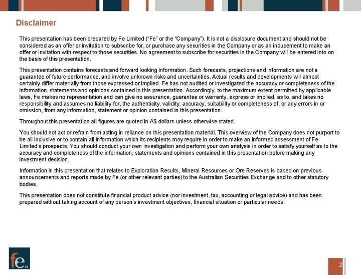 Präsentation FE Limited - Disclaimer