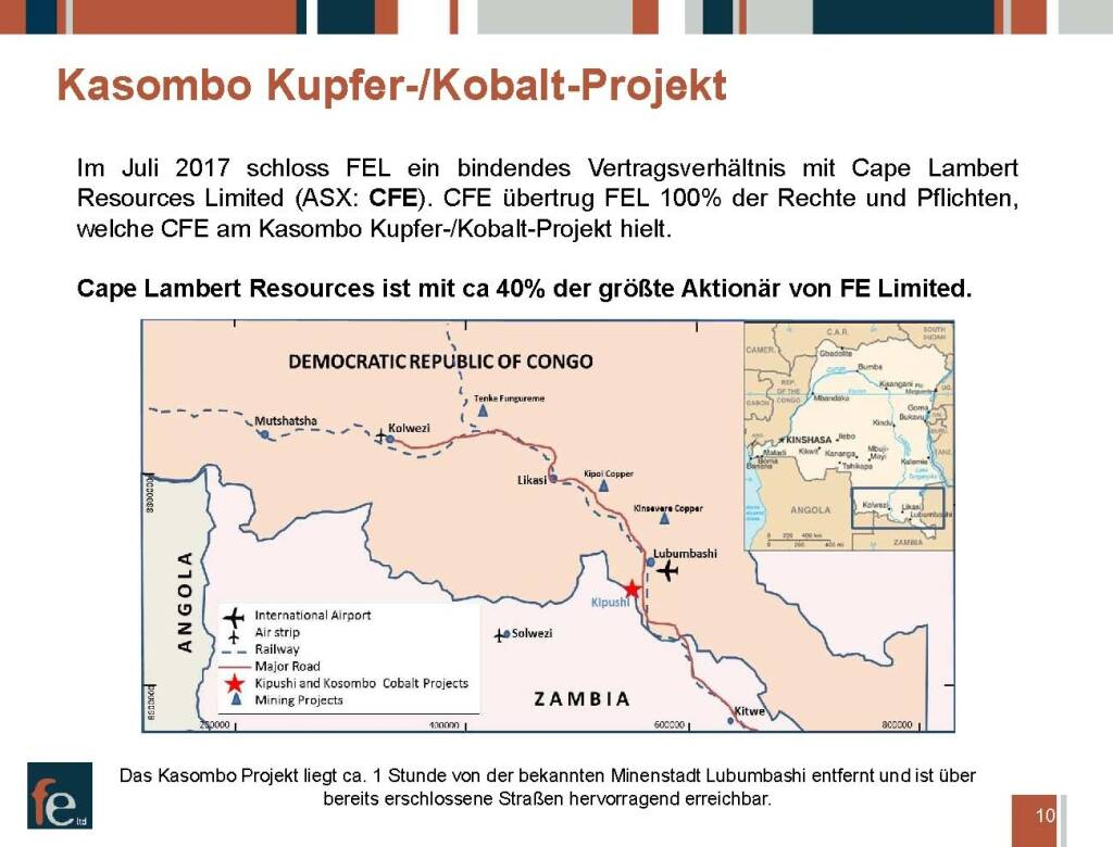 Präsentation FE Limited - Kasombo Kupfer-/Kobalt-Projekt (27.02.2018)