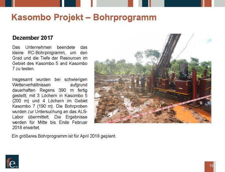Präsentation FE Limited - Kasombo Projekt Bohrprogramm