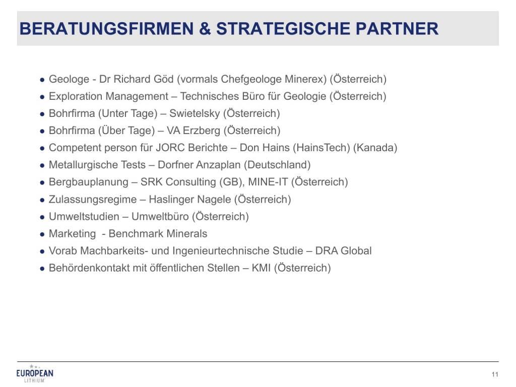 Präsentation European Lithium - Beratungsfirmen und strategische Partner (27.02.2018)