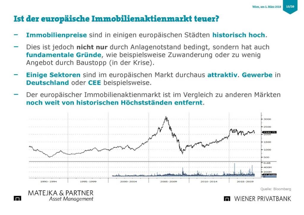 Präsentation Wiener Privatbank - europäische Immobielenaktienmarkt teuer? (27.02.2018)
