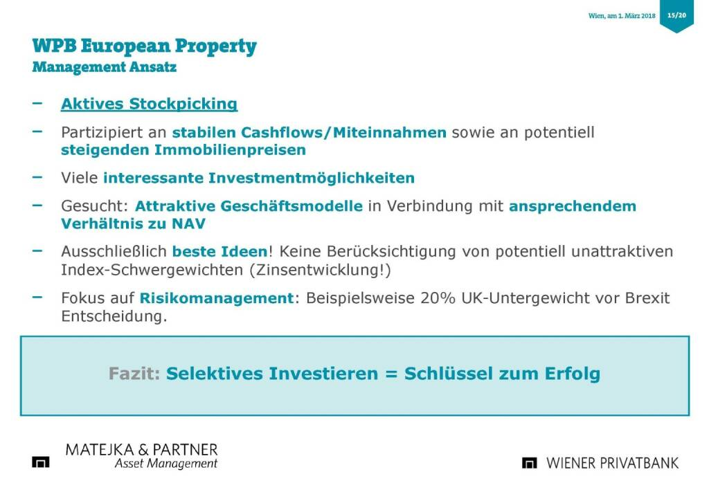 Präsentation Wiener Privatbank - WPB European Property (27.02.2018)