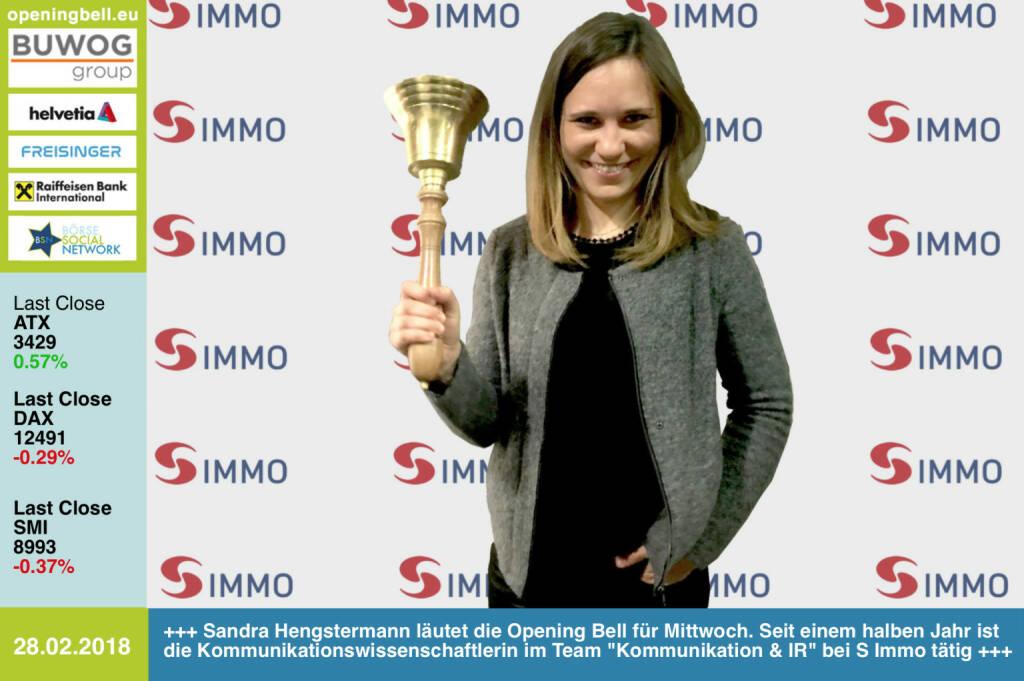#openingbell am 28.2.: Sandra Hengstermann läutet die Opening Bell für Mittwoch. Seit einem halben Jahr ist die  Kommunikationswissenschaftlerin im Team Kommunikation & IR bei der S Immo tätig https://www.simmoag.at/ https://www.facebook.com/groups/GeldanlageNetwork/ #goboersewien  (28.02.2018)