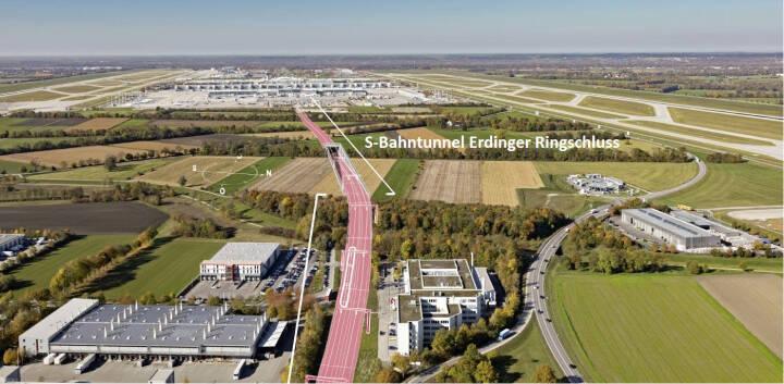Auftrag für Porr: Bahntunnel für Erdinger Ringschluss am Flughafen München; Der Erdinger Ringschluss wird die Leistungsfähigkeit und Verbindung der bestehenden Schieneninfrastruktur untereinander deutlich erhöhen, © Flughafen München GmbH