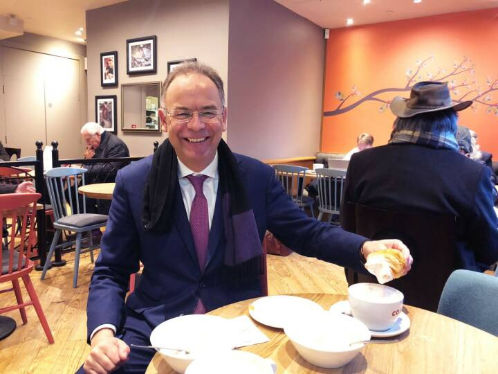 Wienerberger; Heimo Scheuch. Good Morning from London. A small breakfast after the CNBC interview on the Wienerberger Results 2017.