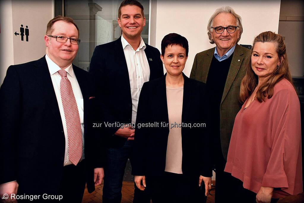 Gregor Rosinger (Rosinger Group), Lukas Scherzenlehner (Cleen Energy), Silvia Wendecker (Wiener Börse), Hans Harrer (Senat der Wirtschaft), Barbara Andersen (Alphazirkel Austria), © (C) Rosinger Group (03.03.2018)