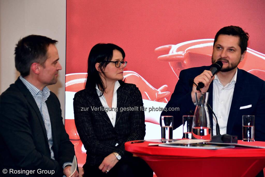 Dr. Albert Geiger (Alphazirkel), Gerda Königstorfer (Rosenbauer), Damian Izdebski (Techbold), © (C) Rosinger Group (03.03.2018)