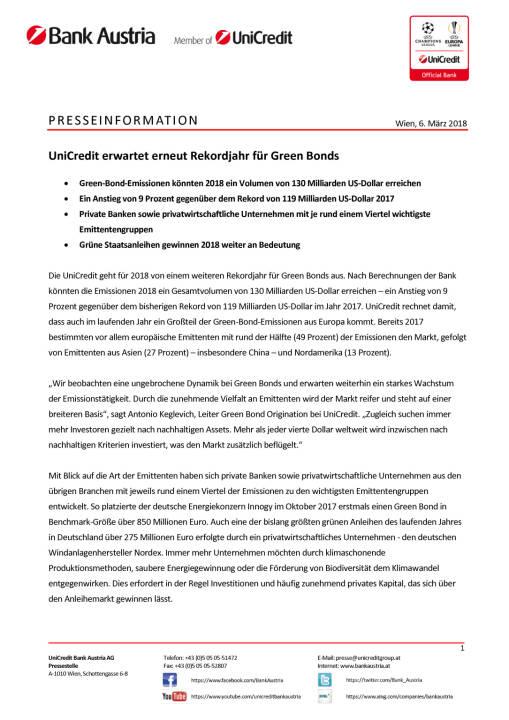 UniCredit erwartet erneut Rekordjahr für Green Bonds, Seite 1/2, komplettes Dokument unter http://boerse-social.com/static/uploads/file_2420_unicredit_erwartet_erneut_rekordjahr_fur_green_bonds.pdf