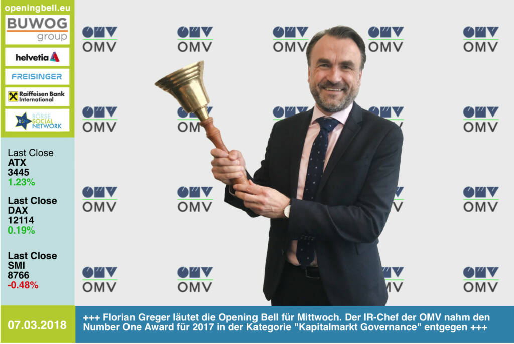 #openingbell am 7.3.: Florian Greger läutet die Opening Bell für Mittwoch. Der IR-Chef der OMV nahm den Number One Award für 2017 in der Kategorie Kapitalmarkt Governance entgegen https://boerse-social.com/numberone/2017 http://www.omv.com https://www.facebook.com/groups/GeldanlageNetwork/ #goboersewien  (07.03.2018)