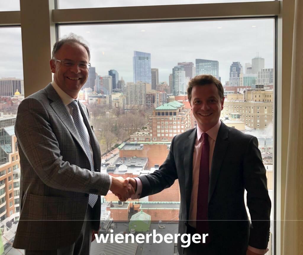 Wienerberger-CEO Heimo Scheuch auf Roadschow in Nord Amerika, hier mit einem Investor in Boston (07.03.2018)