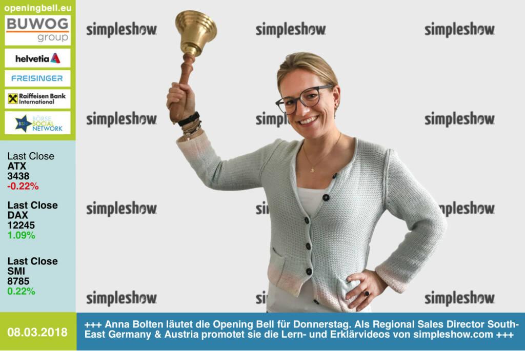 #openingbell am 8.3.: Anna Bolten läutet die Opening Bell für Donnerstag. Als Regional Sales Director South-East Germany & Austria promotet sie die Lern- und Erklärvideos von http://www.simpleshow.com . Ist auch ein Case für http://www.boerse-social.com https://www.facebook.com/groups/GeldanlageNetwork/ #goboersewien  (08.03.2018)