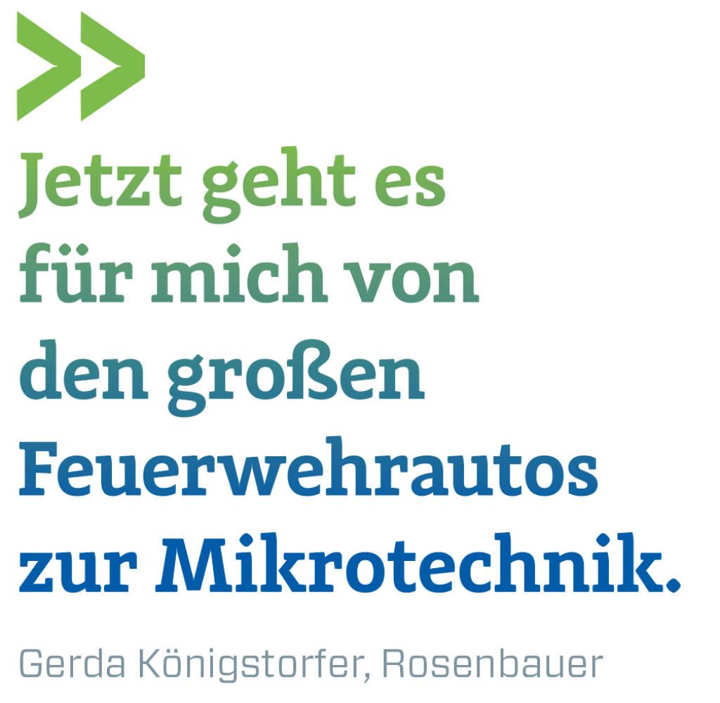 Jetzt geht es für mich von den großen Feuerwehrautos zur Mikrotechnik. Gerda Königstorfer, Rosenbauer (09.03.2018)