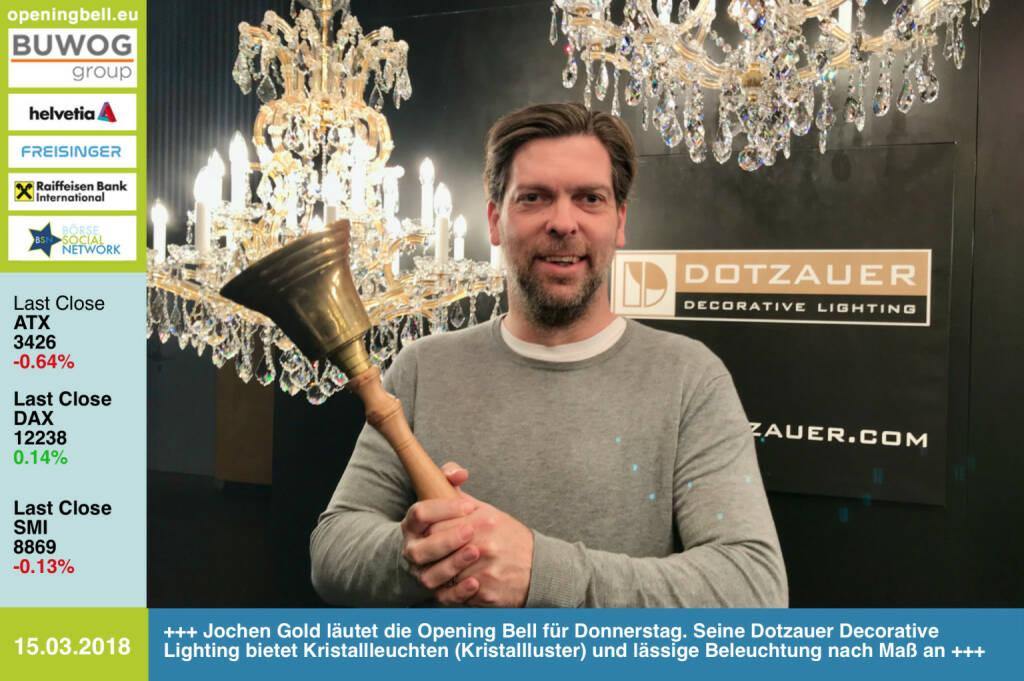15.3.: Jochen Gold läutet die Opening Bell für Donnerstag. Seine Dotzauer Decorative Lighting bietet Kristallleuchten (Kristallluster) und lässige Beleuchtung nach Maß an http://www.dotzauer.com https://www.facebook.com/groups/GeldanlageNetwork/ #goboersewien  (15.03.2018)