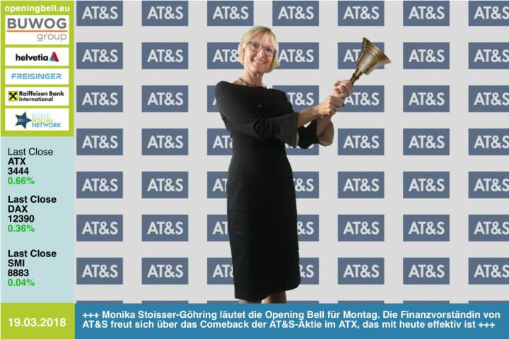 19.3.: Monika Stoisser-Göhring läutet die Opening Bell für Montag. Die Finanzvorständin von AT&S freut sich über das Comeback der AT&S-Aktie im ATX, das mit heute effektiv ist http://www.ats.net http://www.boerse-social.com   https://www.facebook.com/groups/GeldanlageNetwork/ #goboersewien
