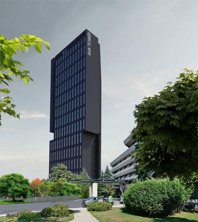 Der europäische Baukonzern Strabag SE hat über seine rumänische Tochtergesellschaft den Auftrag für den Bau eines 110 m hohen Büroturms im Zentrum Bukarests erhalten. Die Auftragssumme beträgt circa € 39 Mio. Die Fertigstellung ist für Oktober 2019 geplant. Bildnachweis: Ana Tower Offices SRL