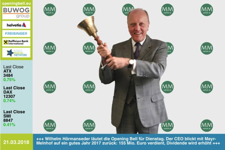 21.3.: Wilhelm Hörmanseder läutet die Opening Bell für Dienstag. Der CEO blickt mit seiner Mayr-Melnhof auf ein gutes Jahr 2017 zurück: 155 Mio. Euro verdient, Dividende wird erhöht https://www.mayr-melnhof.com https://www.facebook.com/groups/GeldanlageNetwork/ #goboersewien