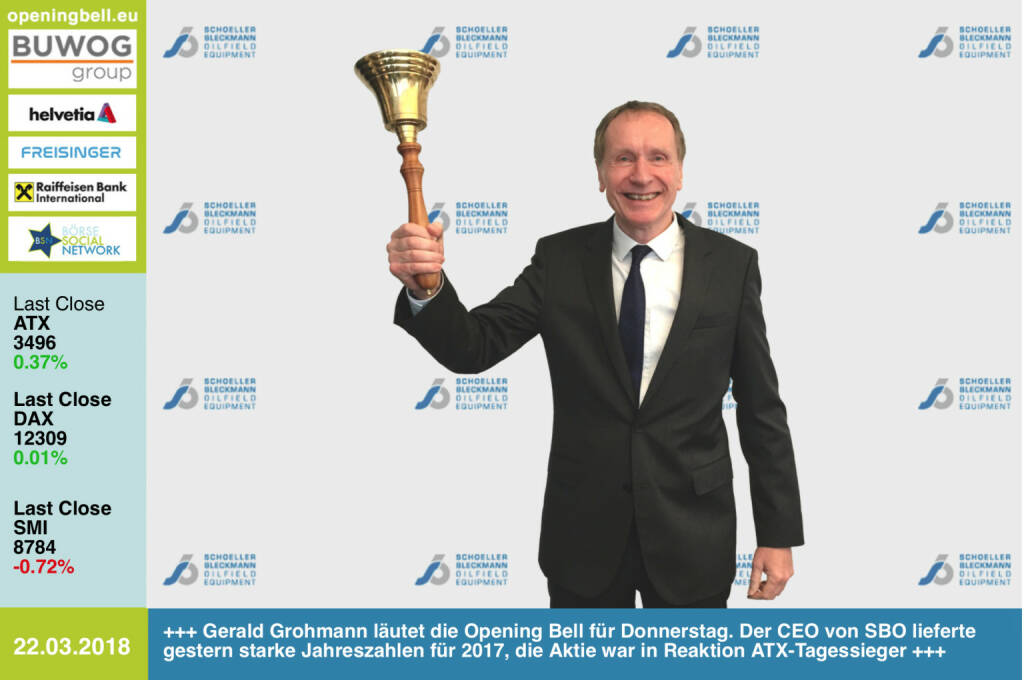22.3.: Gerald Grohmann läutet die Opening Bell für Donnerstag. Der CEO von SBO lieferte gestern starke Jahreszahlen für 2017, die Aktie war in Reaktion ATX-Tagessieger https://www.sbo.at https://www.facebook.com/groups/GeldanlageNetwork/ #goboersewien   (22.03.2018)