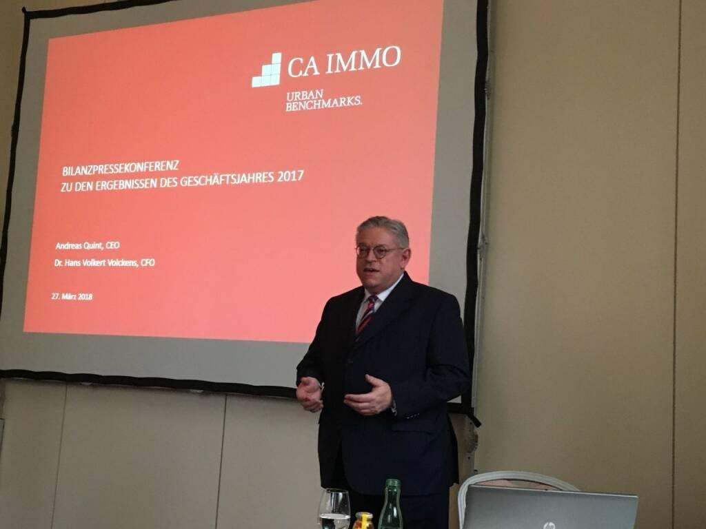 Andreas Quint, seit 1. Jänner 2018 Vorstandsvorsitzender der CA Immobilien Anlagen AG, gibt einen Status Quo, © Aussender (27.03.2018)