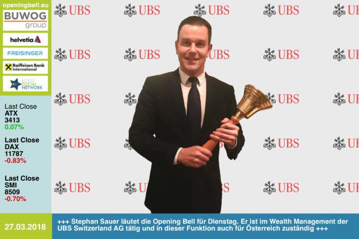 27.3.:  Stephan Sauer läutet die Opening Bell für Dienstag. Er ist im Wealth Management der UBS Switzerland AG tätig und in dieser Funktion auch für den österreichischen Markt zuständig https://www.ubs.com/at/de.html https://www.facebook.com/groups/GeldanlageNetwork/ #goboersewien