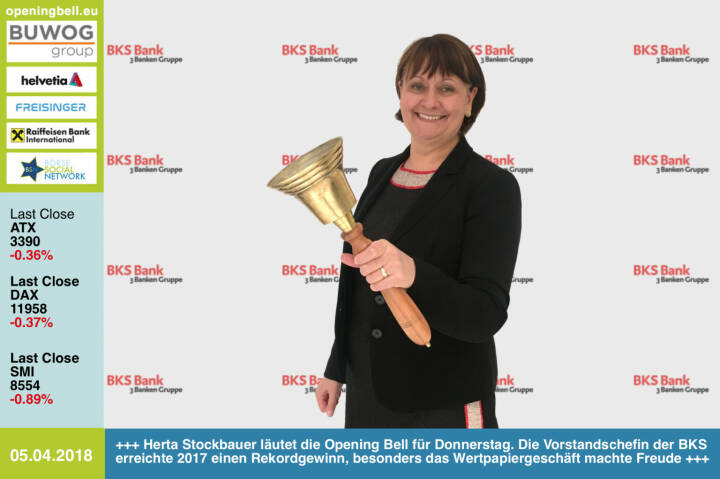 5.4.: Herta Stockbauer läutet die Opening Bell für Donnerstag. Die Vorstandschefin der BKS erreichte 2017 einen Rekordgewinn, besonders das Wertpapiergeschäft machte ihr Freude http://www.bks.at https://www.facebook.com/groups/GeldanlageNetwork/ #goboersewien