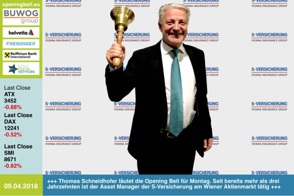 9.4.:Thomas Schneidhofer läutet die Opening Bell für Montag. Seit bereits mehr als drei Jahrzehnten ist der Asset Manager der S-Versicherung am Wiener Aktienmarkt tätig https://www.s-versicherung.at/de/home https://www.facebook.com/groups/GeldanlageNetwork/ #goboersewien (09.04.2018)