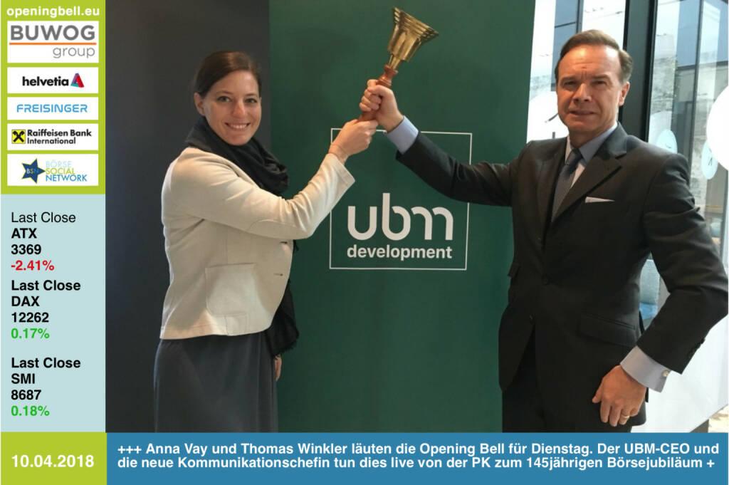 10.4.: Anna Vay und Thomas Winkler läuten die Opening Bell für Dienstag. Der UBM-CEO und die neue Kommunikationschefin tun dies live von der PK zum 145jährigen Börsejubiläum http://ubm.at https://www.facebook.com/groups/GeldanlageNetwork/ #goboersewien (10.04.2018)