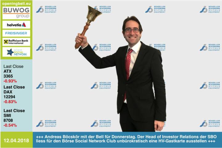 12.4.: Andreas Böcskör läutet die Opening Bell für Donnerstag. Der Head of Investor Relations der SBO liess für den Börse Social Network Club unbürokratisch eine HV-Gastkarte ausstellen http://www.sbo.co.at https://www.facebook.com/groups/GeldanlageNetwork/ #goboersewien