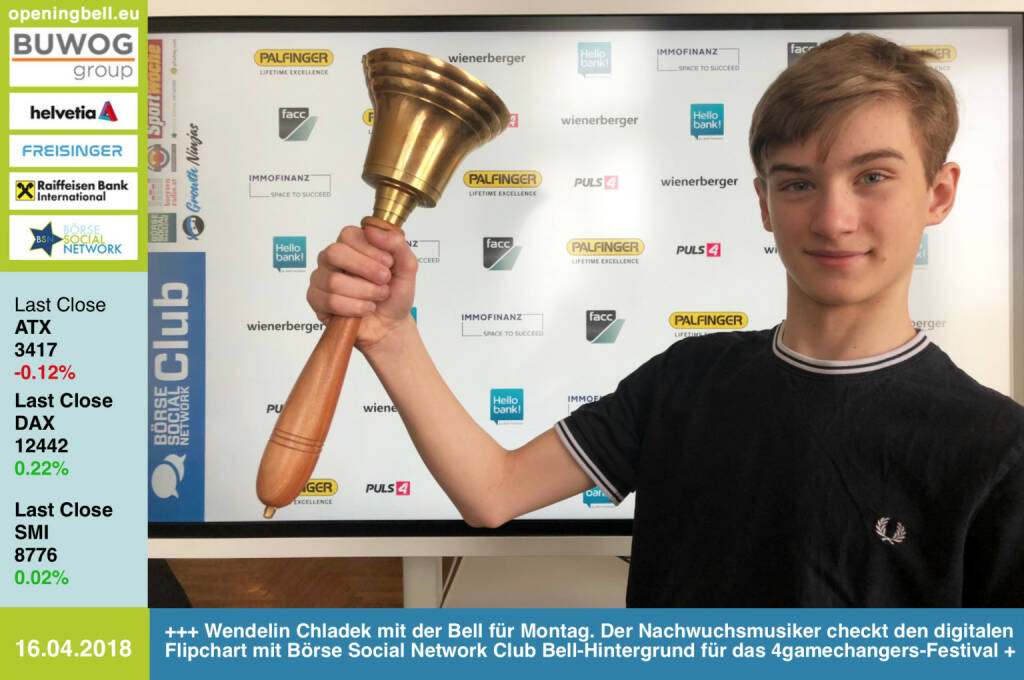 16.4.: Wendelin Chladek läutet die Opening Bell für Montag. Unser Nachwuchsmusiker checkt den digitalen Flipchart mit Börse Social Network Club Bell-Hintergrund für das 4gamechangers-Festival https://4gamechangers.io https://www.facebook.com/groups/GeldanlageNetwork/  #goboersewien (16.04.2018)