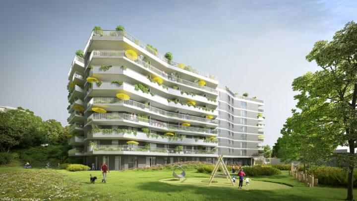 """Raiffeisen Vorsorge Wohnung GmbH: Erstes Platin Zertifiziertes Wohngebäude """"Anton"""" feiert Dachgleiche!, Visualisierung Anton-Kuh-Weg. 5, 1030 Wien; Foto: oln"""