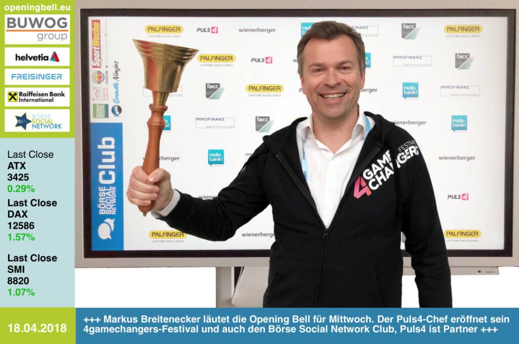18.4.: Markus Breitenecker läutet die Opening Bell für Mittwoch. Der Puls4-Chef eröffnet damit sein 4gamechangers-Festival und auch den Börse Social Network Club, bei dem Puls4 neben FACC, Hello bank!, Immofinanz, Palfinger, und Wienerberger Hauptpartner ist https://4gamechangers.io https://www.facebook.com/groups/GeldanlageNetwork/ #goboersewien (18.04.2018)
