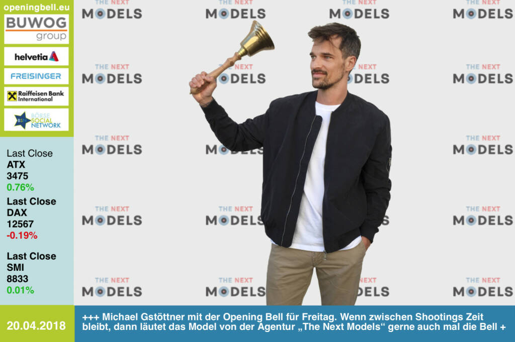 "20.4.: Michael Gstöttner mit der Opening Bell für Freitag. Wenn zwischen Shootings Zeit bleibt, dann läutet das Model von der Agentur ""The Next Models"" gerne auch mal die Bell http://www.thenextmodels.com  https://www.facebook.com/groups/GeldanlageNetwork/  #goboersewien (20.04.2018)"