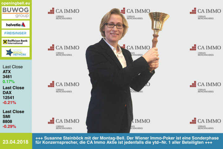 23.4.: Susanne Steinböck läutet die Opening Bell für Montag. Der Wiener Immo-Poker ist eine Sonderphase für Konzernsprecher, die CA Immo Aktie ist jedenfalls die year-to.date-Nr. 1 aller Beteiligten http://caimmo.com  https://www.facebook.com/groups/GeldanlageNetwork/ #goboersewien