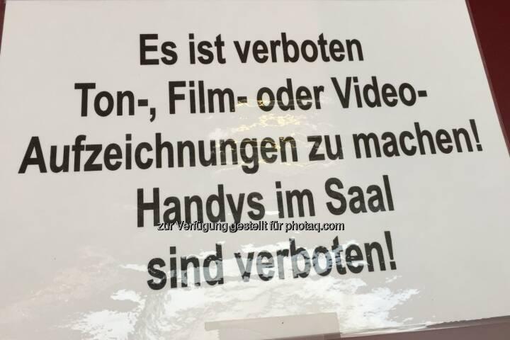 Kamera darf nicht rein. SBO-HV 2018