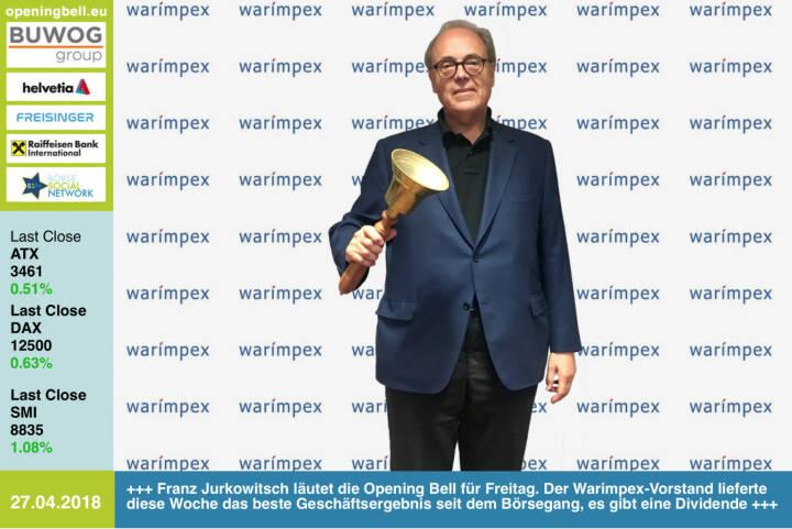 27. 4.:  Franz Jurkowitsch läutet die Opening Bell für Freitag. Der Warimpex-Vorstand lieferte diese Woche das beste Geschäftsergebnis seit dem Börsegang, es gibt eine Dividende http://www.warimpex.at https://www.facebook.com/groups/GeldanlageNetwork/ #goboersewien