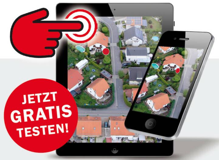 """Mit der App """"MyInterest"""" können ganz bequem per GPS-Ortung Eigentümerdaten und Grundstückspläne eines Standortes abgerufen werden. """"MyInterest"""" selektiert das Grundstück mit einem Klick und liefert alle benötigten Informationen. Die App ist die Weiterentwicklung von """"iEigentum""""; ScreenShot MyInterest; Heinrich Beinhofer; Fotocredit:Fotolia.com; © vgstudio / 123rf.com / dialog one Direct Marketing"""