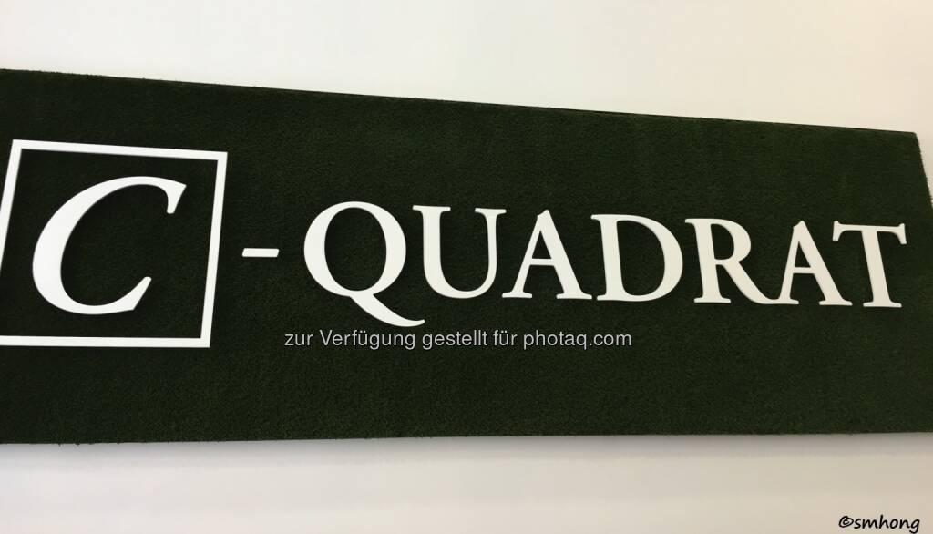 C-Quadrat-Logo auf künstlichem Moos, sehr gefällig, Design erinnert sehr stark an Quadriga. Oder umgekehrt. HV 4.5.18 (06.05.2018)