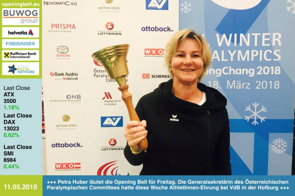 11.5.: Petra Huber läutet die Opening Bell für Freitag. Die Generalsekretärin des Österreichischen Paralympischen Committees hatte diese Woche AthletInnen-Ehrung bei VdB in der Hofburg http://www.oepc.at/ http://runplugged.com/2018/05/11/paralympic_32000_euro_und_eine_besondere_ehrung_durch_den_bundesprasidenten_in_der_hofburg https://www.facebook.com/groups/Sportsblogged   https://www.facebook.com/groups/GeldanlageNetwork/  #goboersewien    (11.05.2018)