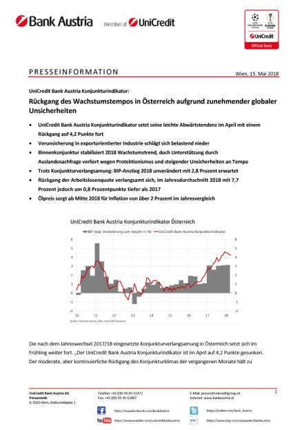 UniCredit Bank Austria Konjunkturindikator: Rückgang des Wachstumstempos in Österreich aufgrund zunehmender globaler Unsicherheiten, Seite 1/6, komplettes Dokument unter http://boerse-social.com/static/uploads/file_2423_unicredit_bank_austria_konjunkturindikator_ruckgang_des_wachstumstempos_in_osterreich_aufgrund_zunehmender_globaler_unsicherheiten.pdf (15.05.2018)