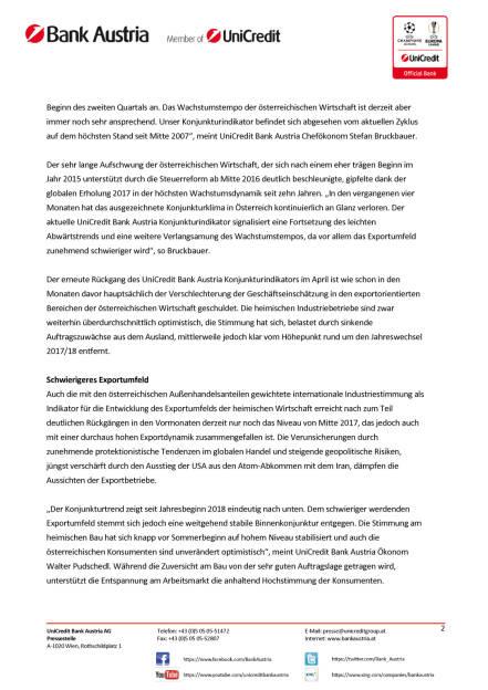 UniCredit Bank Austria Konjunkturindikator: Rückgang des Wachstumstempos in Österreich aufgrund zunehmender globaler Unsicherheiten, Seite 2/6, komplettes Dokument unter http://boerse-social.com/static/uploads/file_2423_unicredit_bank_austria_konjunkturindikator_ruckgang_des_wachstumstempos_in_osterreich_aufgrund_zunehmender_globaler_unsicherheiten.pdf (15.05.2018)