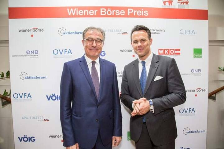 Erste Group Research-Chef Friedrich Mostböck mit Wiener Börse-CEO Christoph Boschan; Credit: APA-Fotoservice