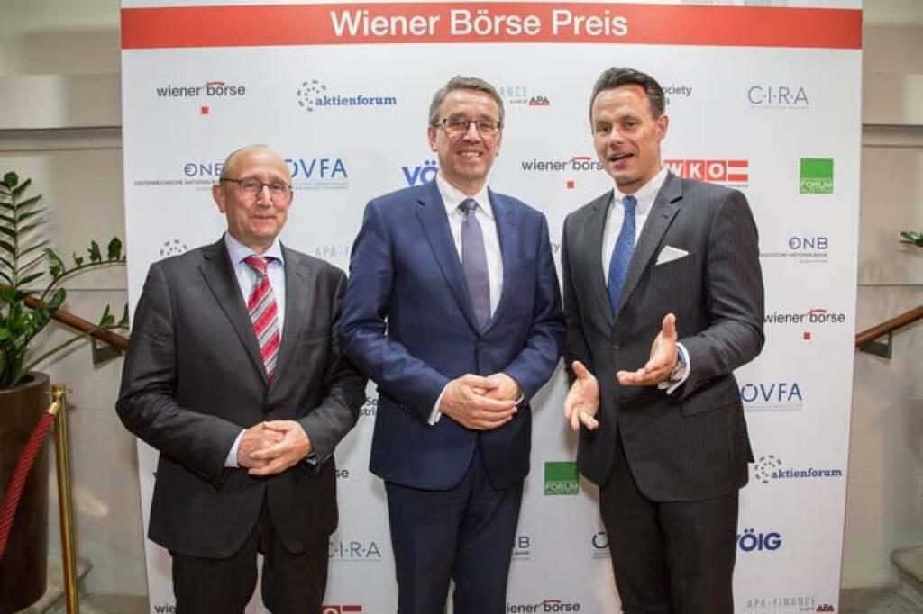 Wiener Börse-Vorstand Ludwig Nießen, Harald Hagenauer (Österreichische Post), Börse-CEO Christoph Boschan; Credit: APA-Fotoservice, © APA-Fotoservice/Wiener Börse (22.05.2018)