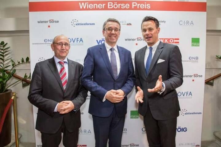 Wiener Börse-Vorstand Ludwig Nießen, Harald Hagenauer (Österreichische Post), Börse-CEO Christoph Boschan; Credit: APA-Fotoservice