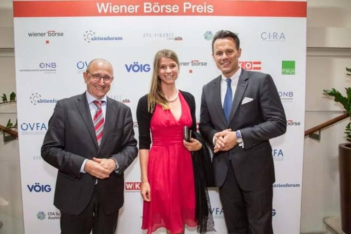 Wiener Börse-Vorstand Ludwig Nießen, Katharina Löckinger (DGWA, European Lithium), Börse-CEO Christoph Boschan; Credit: APA-Fotoservice