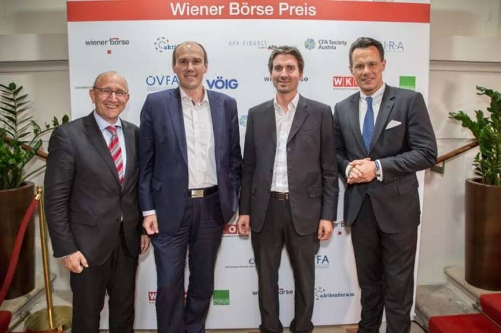 Wiener Börse-Vorstand Ludwig Nießen, Bernhard Dörflinger, Wolfgang Matzner (beide TeleTrader), Börse-CEO Christoph Boschan; Credit: APA-Fotoservice, © APA-Fotoservice/Wiener Börse (22.05.2018)