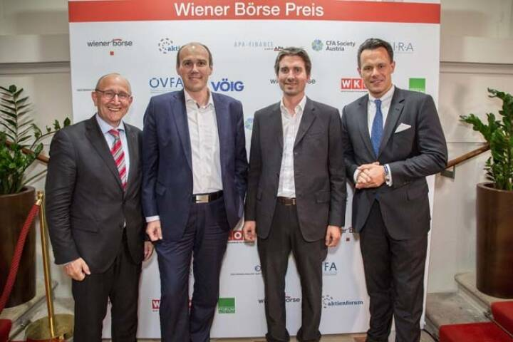 Wiener Börse-Vorstand Ludwig Nießen, Bernhard Dörflinger, Wolfgang Matzner (beide TeleTrader), Börse-CEO Christoph Boschan; Credit: APA-Fotoservice