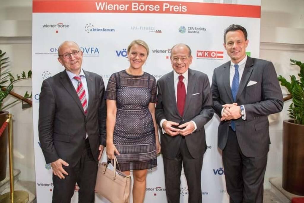 Wiener Börse-Vorstand Ludwig Nießen, Michael Spiess (Raiffeisen Capital Management), Börse-CEO Christoph Boschan; Credit: APA-Fotoservice, © APA-Fotoservice/Wiener Börse (22.05.2018)
