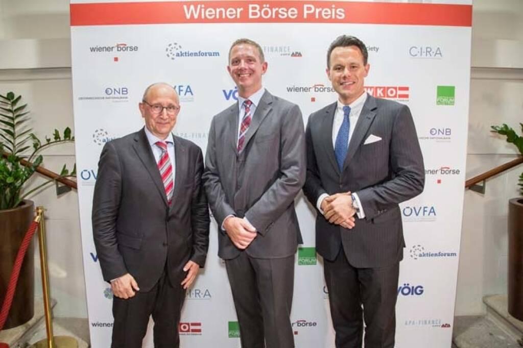 Wiener Börse-Vorstand Ludwig Nießen, Carsten Lütke-Bornefeld (Lang und Schwarz) , Börse-CEO Christoph Boschan; Credit: APA-Fotoservice , © APA-Fotoservice/Wiener Börse (22.05.2018)