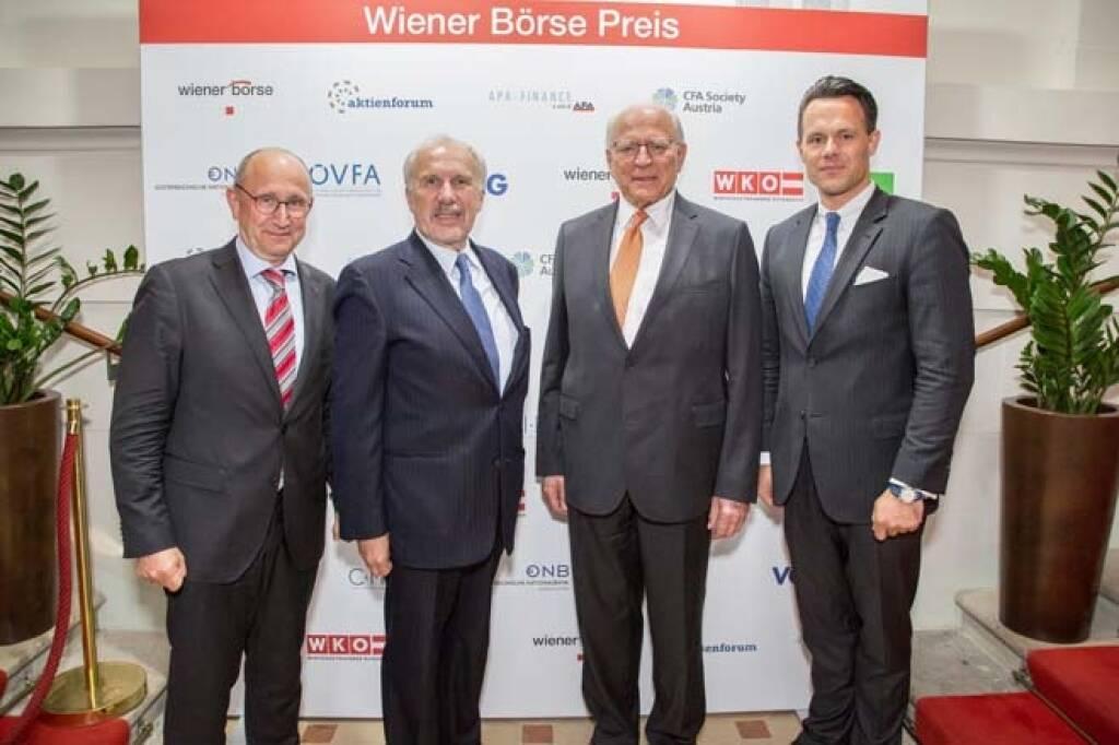 Wiener Börse-Vorstand Ludwig Nießen, Ewald Nowotny, Claus Raidl (beide OeNB), Börse-CEO Christoph Boschan; Credit: APA-Fotoservice, © APA-Fotoservice/Wiener Börse (22.05.2018)