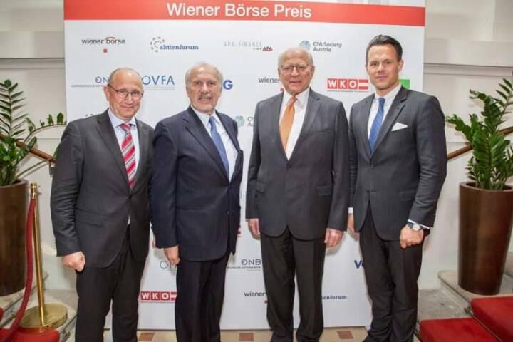 Wiener Börse-Vorstand Ludwig Nießen, Ewald Nowotny, Claus Raidl (beide OeNB), Börse-CEO Christoph Boschan; Credit: APA-Fotoservice