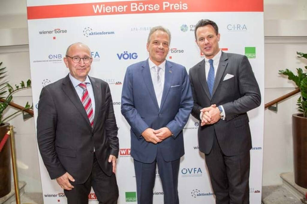 Wiener Börse-Vorstand Ludwig Nießen, Andreas Feuerstein (S Immo Senior Investor Relations Manager), Börse-Chef Christoph Boschan; Credit: APA-Fotoservice, © APA-Fotoservice/Wiener Börse (22.05.2018)